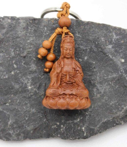 Schlüsselanhänger Buddha Guanyin Anhänger (10cm) Rosenholz