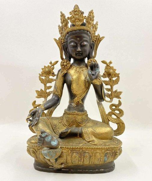 Grüne Tara Buddha (43cm) Bronze Figur mit Patina