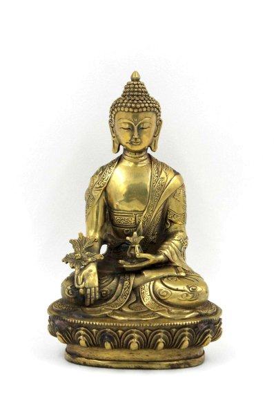 Medizin Buddha Figur (20,5cm) Bronze, Drachen verziertes Gewand