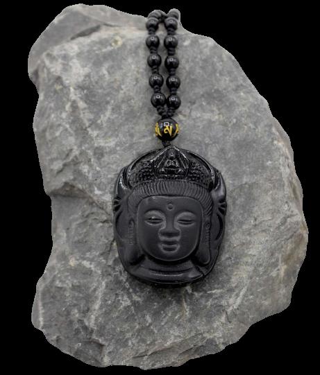 Obsidian Kette mit Guanyin Buddha Kopf Anhänger + Schmuckbeutel