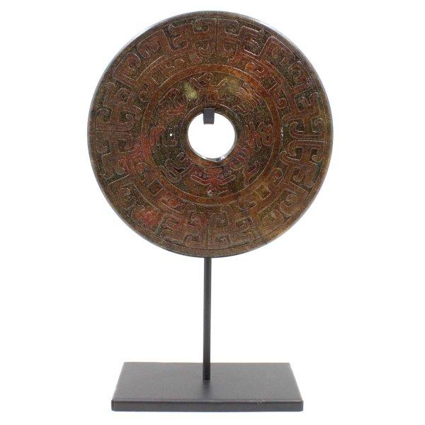 Bi-Scheibe Achat (32cm) Schrift Steinschnitzereien