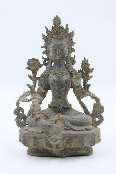 Grüne Tara Buddha Figur aus Bronze
