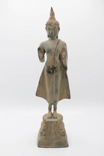 Buddha Figur Sukhothai aus Bronze, Thailand