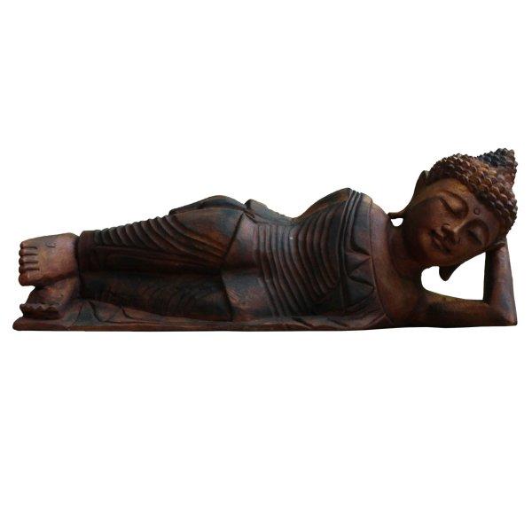 Liegender Nirwana Buddha (50cm) Holz Statue