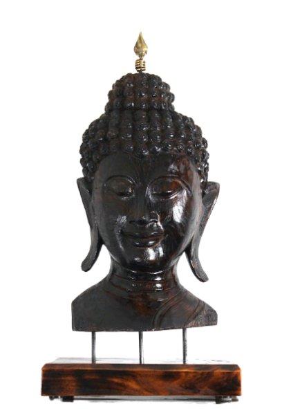Mandalay Buddha Büste aus Holz - restauriert