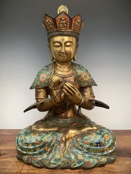 Gekrönter Buddha (62cm) Bronze Figur Dharmachakra Mudra
