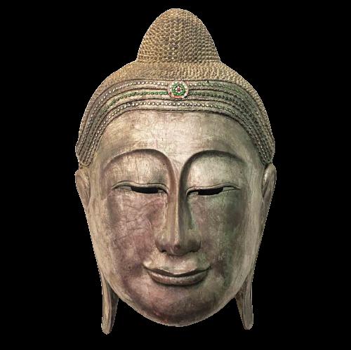 Buddha Maske Holz Thailand (60cm) Shakyamuni Kopf Figur