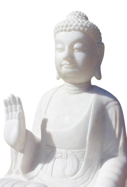 Marmorstein Buddha Figur, Schutzgestus