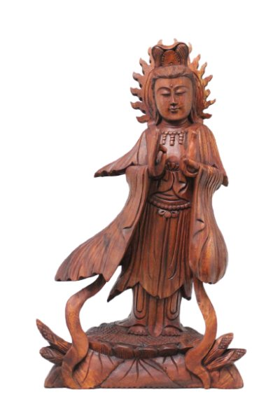 Holz Buddha Figur Kwan-Yin - 51cm groß