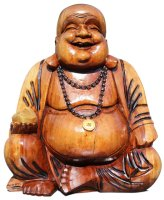 buddha figur aus holz happy budda