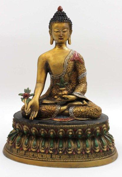 Bhaisajyaguru Medizin Buddhafigur (34cm) aus Bronze
