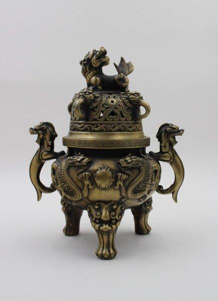 Drachen Räuchergefäß aus China mit Tempellöwen - Bronze