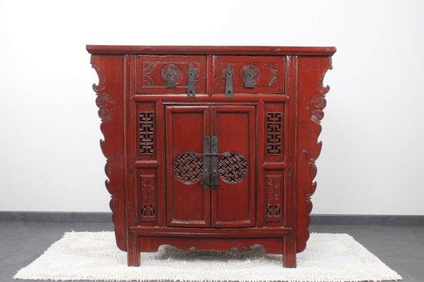 Chinesische Kommode aus Ulmenholz in Rot