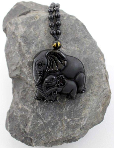 Schwarze Obsidian Elefanten Anhänger Halskette + Schmuckbeutel