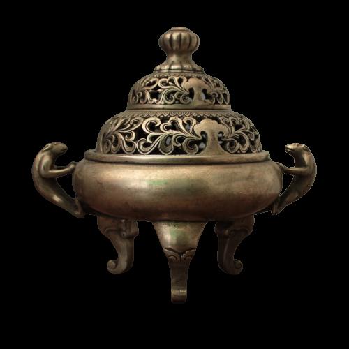 Bronze Räuchergefäß Drachen Henkel (17,5cm) Chinesische Schale