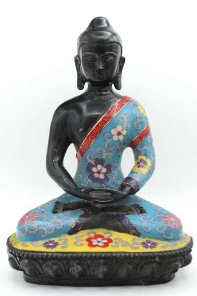 Cloisonné Amitabha Buddha Figur aus Bronze