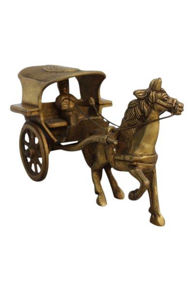 Chinesische Rikscha mit Pferd und Kutscher, Bronze