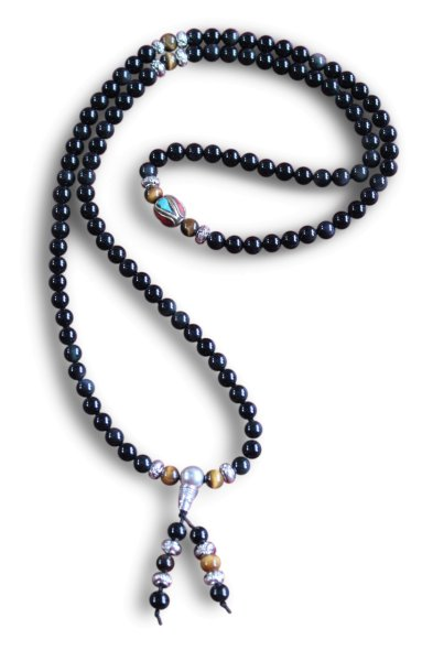 Buddhistische Halskette Mala, Obsidian, Tigerauge