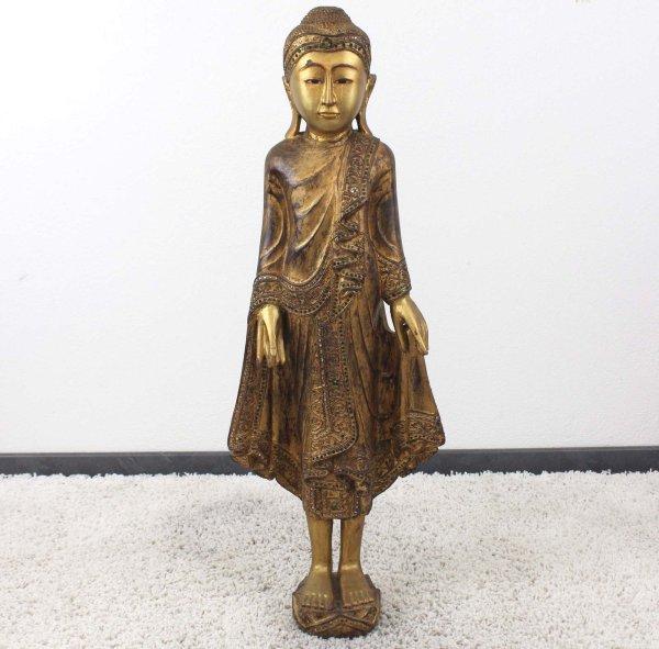 Burma Buddha Figur (107cm) Holz Statue