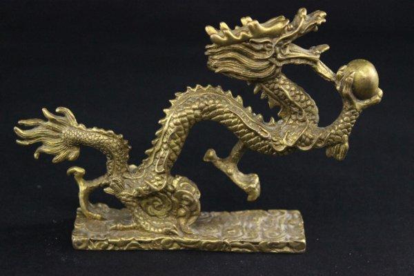 Chinesische Drachen Figur aus Bronze/Messing