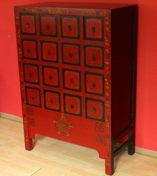 Chinesischer Apotheker Schrank (120cm) Rot aus Nachlass