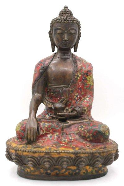 Siddharta Buddha Bronze Figur - Cloisonné