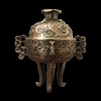 China Räuchergefäß Bronze (17cm) Drachen & Blumen