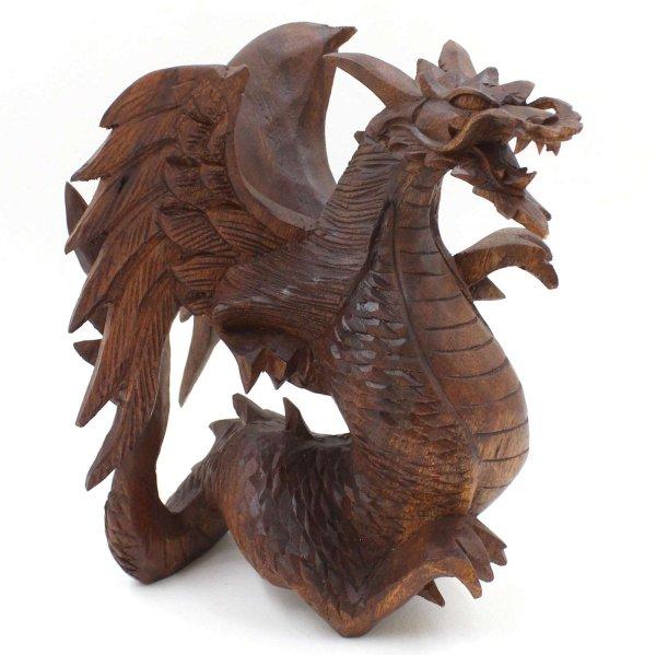 Drache aus Holz (22cm) Südostasien Tierkreis Figur