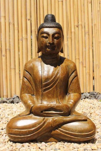 Naturstein Garten Buddha Statue in Holz Optik gefinisht - restauriert