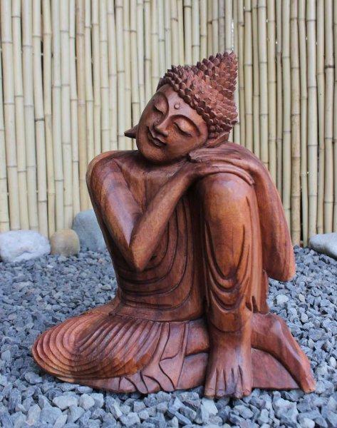 Buddha Figur mit ruhender Geste aus Holz