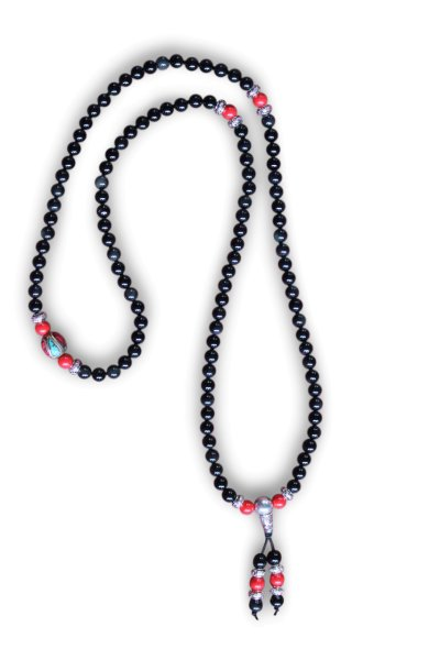 Buddhistische Halskette Mala aus schwarzer Achat