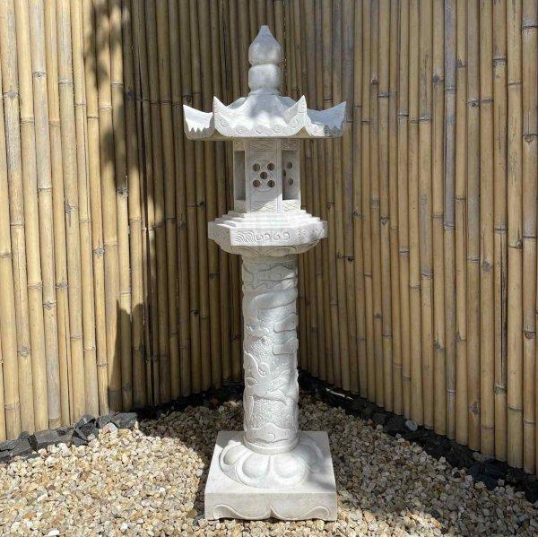 Große Drachen Steinlaterne - Geisterhaus aus Marmor für Ihren Garten