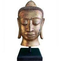 Buddha Kopf Bronze (65cm) blattvergoldet Burma