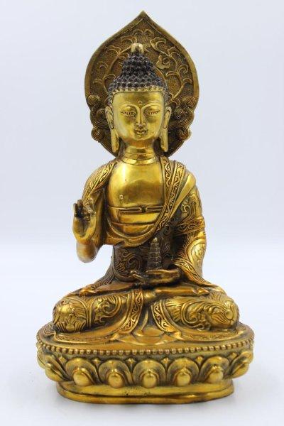 Buddha Figur mit Aureole aus China - Bronze