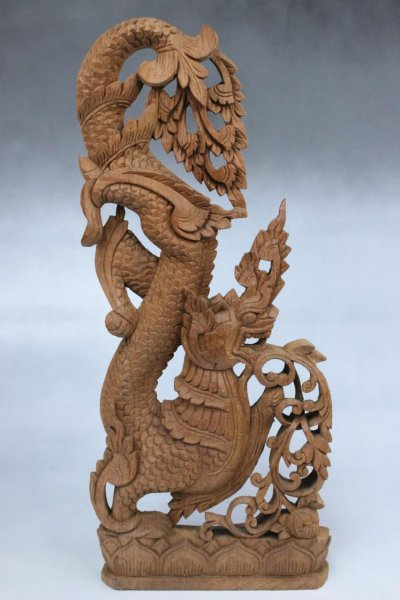 Asiatisches Drachen Holz Relief, Wandbild