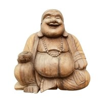 Happy Buddha Figur Holz (40cm) Glücksbuddha