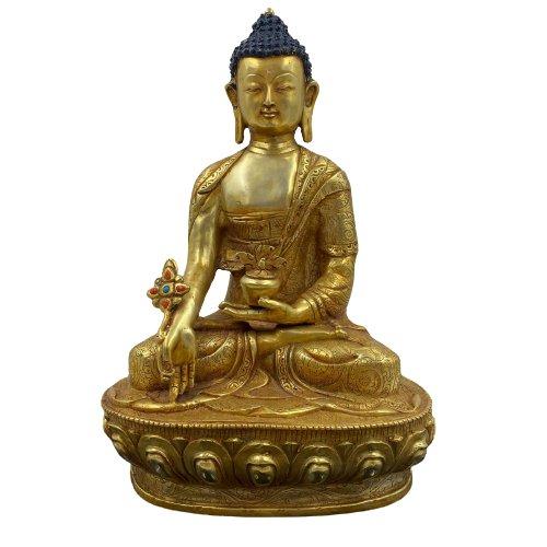 24 K Feuervergoldeter Medizin Buddha (32cm) Bronze Figur