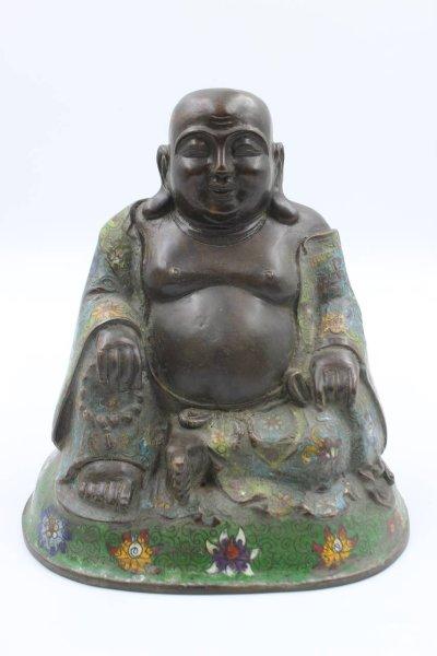 Cloisonne Hotai Buddha Figur aus Bronze