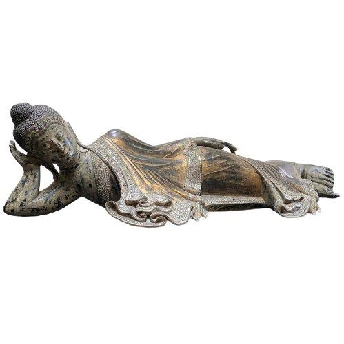 Großer Nirwana Buddha (205cm) Liegender Holz Statue