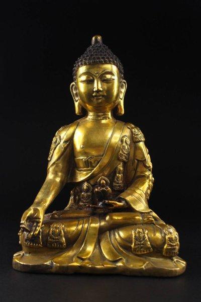 Buddha Figur aus Bronze mit Karana Mudra