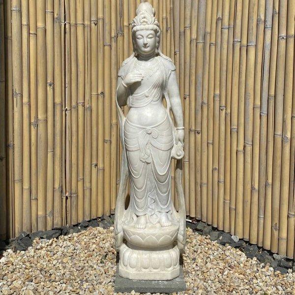 Guanyin Garten Buddha Statue (158cm) Marmor Stein Kwan Yin