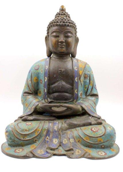 42cm große Cloisonne Amitabha Buddha Figur - China