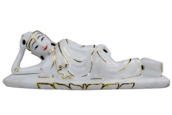 Liegende Buddha Figur aus Marmorstein