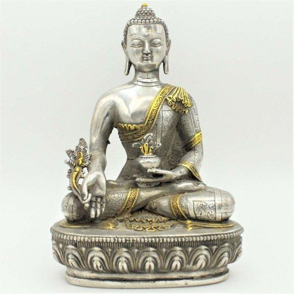 Medizin Buddha Figur (22cm) Tibet Silber