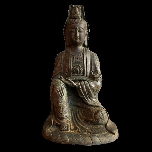 Guanyin Buddha mit Zepter (28cm) Bronze Figur