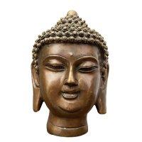 Buddha Kopf Bronze Figur (15cm) Shakyamuni Skulptur