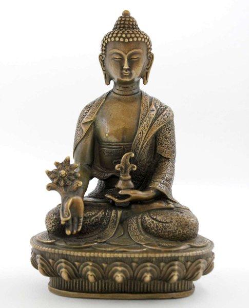 Sitzender Medizin Buddha (20cm) Bronze Gesundheit Statue