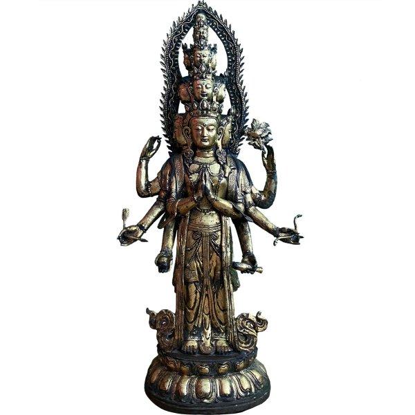 Gigantische Chenrezig Buddha Figur (120cm) Avalokiteshvara Bronze Statue