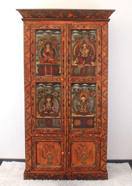 Tibetischer Hochzeitsschrank (196cm) Teakholz Buddha Schrank