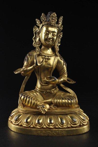 Gekrönter Buddha - Bronze Figur aus China